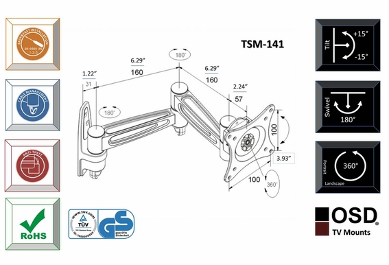 "Plasma/LED/LCD TV Mount 13"" - 23"" OSD TSM-141"