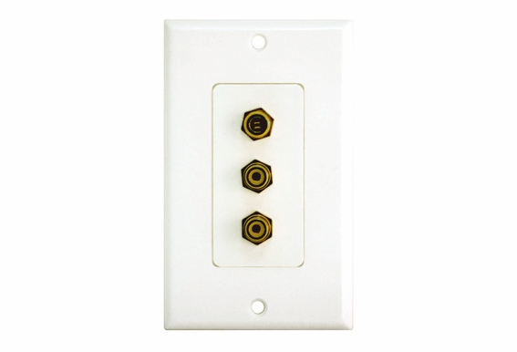 "Single ""F"" and Double RCA Connector Wallplate"