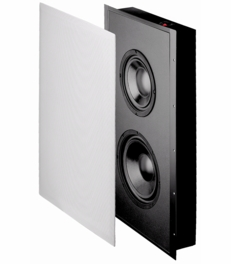 "SL800 In-Wall Dual Drive Subwoofer with Sealed Enclosure, 8"" Woofers and 10"" Radiator, includes White Paintable Grill, 300W, 8Ω"