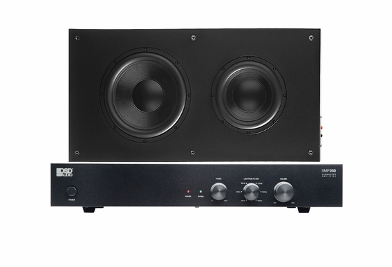 "SL800 Low Profile 8"" Subwoofer Dual with 10"" Standalone Onwall SMP250 Subwoofer Amp"