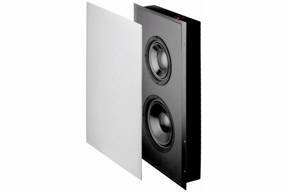 """SL800D In-Wall Dual Drive Subwoofer with Sealed Enclosure, 8"""" Woofers and 10"""" Radiator, includes White Paintable Magnetic Grill, 300W, 8Ω"""