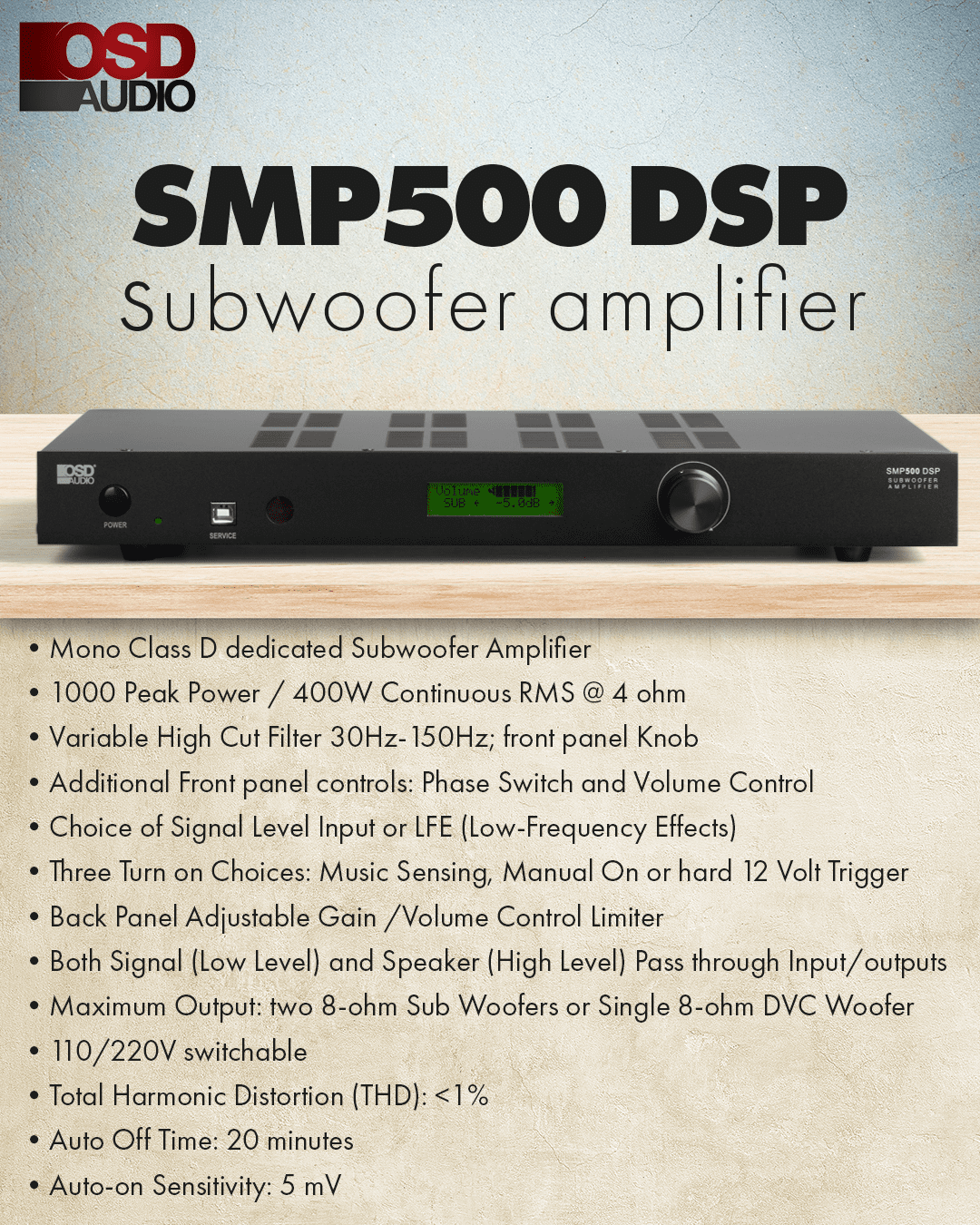 OSD Audio SMP500 DSP Mono-Channel Class D Subwoofer