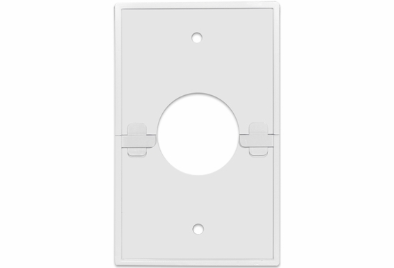 """Split Single Gang Wall Plate With 1-3/8"""" Hole, White (1, 5, 10, 15, or 20 Pack)"""