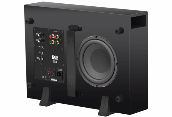 """SS8 200W Ultra Thin Low Profile 8"""" Active Subwoofer Black Wood Veneer, Single Drive"""