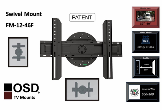 "TV Wall Mount for LED, LCD and Plasma TVs Fixed Swivel Mount 32"" - OSD-FM-12-46F"