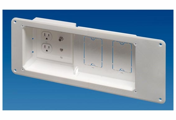 TVB613 4-Gang Recessed TV Box Wall Plate for Flat Screen TVs