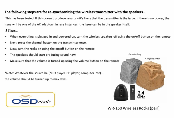 Wireless Outdoor Rock Speakers OSD Audio WR150
