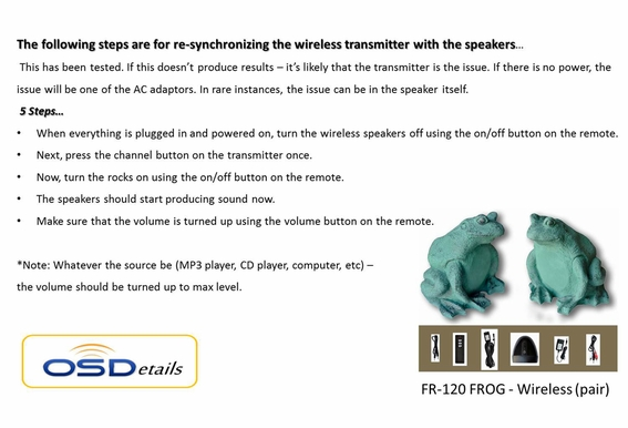 Wireless Outdoor Speakers Frog Pair OSD Audio
