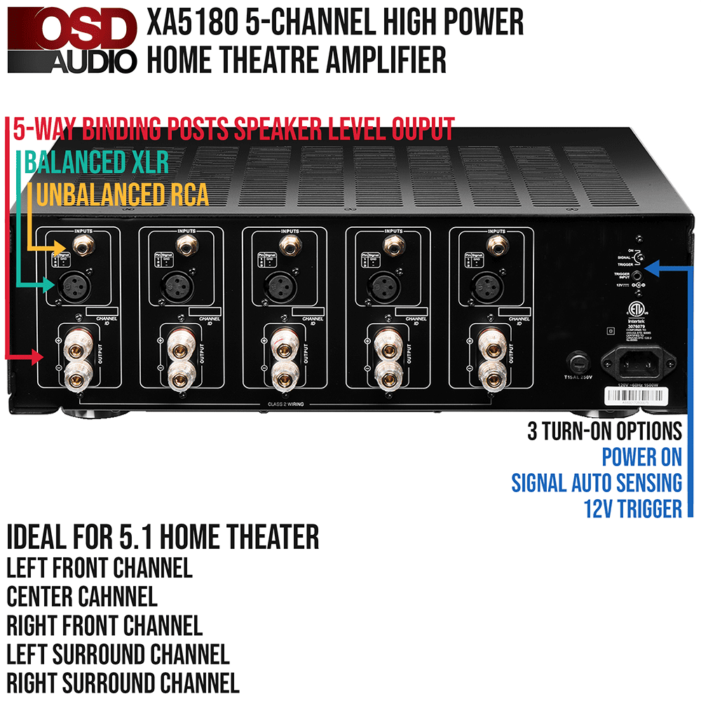 5 Channel High Power Home Theater Amplifier With Five 8 Angled Audio Xlr Wiring Multiple Speakers In Ceiling Speaker Features