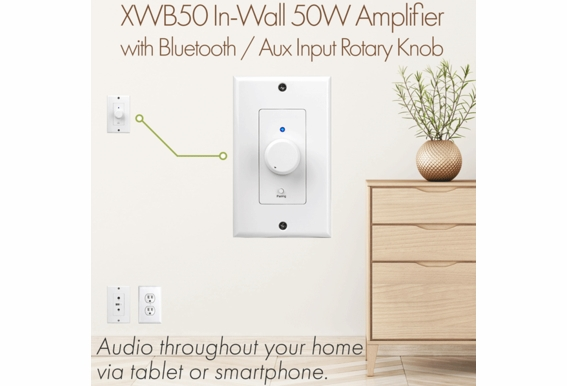 XWB50 In-Wall 50W Amplifier with Bluetooth / Aux Input Rotary Knob Decora-Style Plates, Includes Connecting Cables
