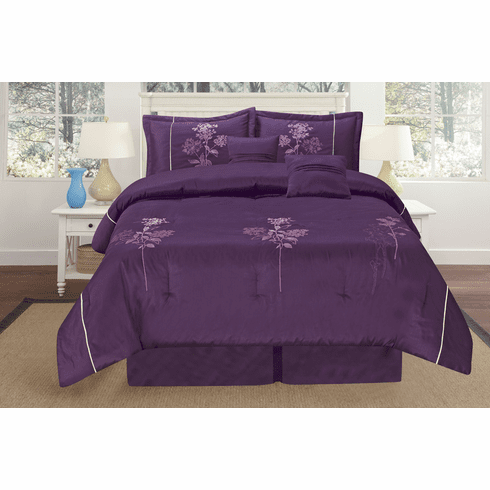 3 pcs Purple Embroidery Brand New Luxurious Bamboo nod material duvet set