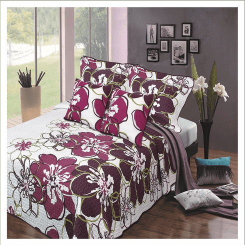 5pcs Reversible Quilted Purple Flower Bedspread Bed Coverlets Quilts Set