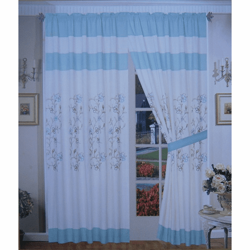 "A Pair of Beige / Aqua Blue Brushed Microfiber with Embroidery Window Curtains / Drapes / Panels with Sheer Lining Set 120x84"" (WxH)"