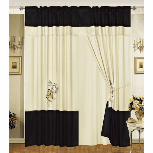 """A Pair of Beige / Black with embroidery Window Curtains / Drapes / Panels with Sheer Lining and Valance Set 120x84""""(WxH)."""