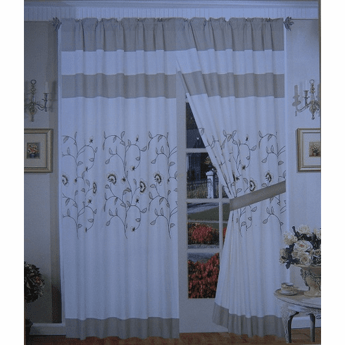 "A Pair of Beige / Taupe Brushed Microfiber with Embroidery Window Curtains / Drapes / Panels with Sheer Lining Set 120x84"" (WxH)"