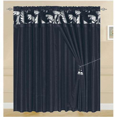 A pair of Black based Window curtain  /drapes