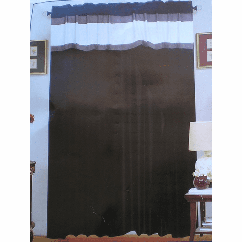 A Pair of Micro Suede Black Printing Window Curtains / Drapes / Panels with Sheer Linen and Valance Set.