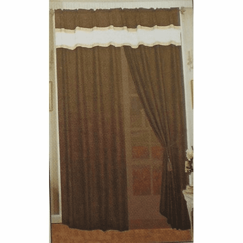 A Pair of Micro Suede Dark Brown Window Curtains / Drapes / Panels with Sheer Linen and Valance Set.