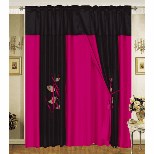 """A Pair of Rose / Black with embroidery Window Curtains / Drapes / Panels with Sheer Lining and Valance Set 120x84""""(WxH)."""