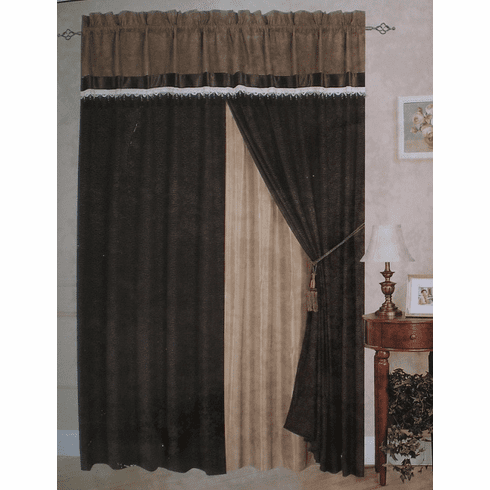 A Pair of Short Fur Chocolate Brown Printing Window Curtains / Drapes / Panels with Sheer Linen and Valance Set.