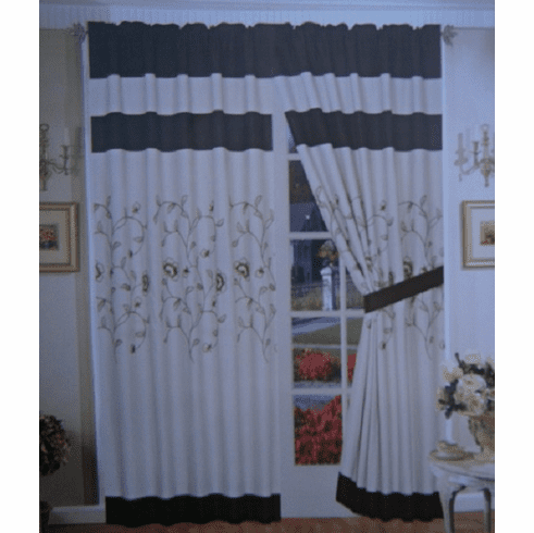 "A Pair of Taupe / Brown Brushed Microfiber with Embroidery Window Curtains / Drapes / Panels with Sheer Lining Set 120x84"" (WxH)"