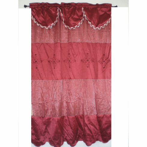Bamboo nod and sheer embrodiery window curtain / panel / drape valance with sheer lining