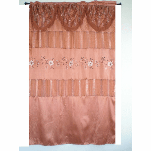 Bamboo nod and sheer embrodiery window curtain / panel / drape with valance and sheer lining