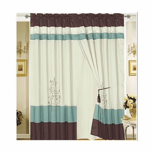 Bamboo nod material Aqua blue Brown Beige Embroidery Windows Curtain / drapes