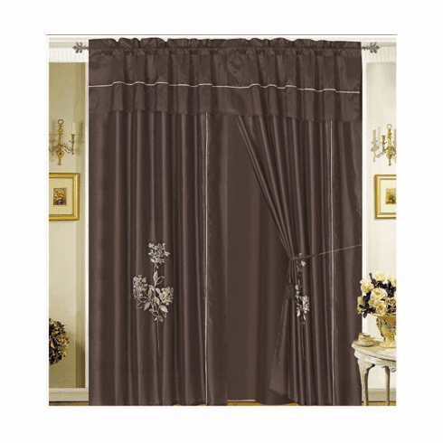 Bamboo nod material Brown Embroidery Windows Curtain / drapes
