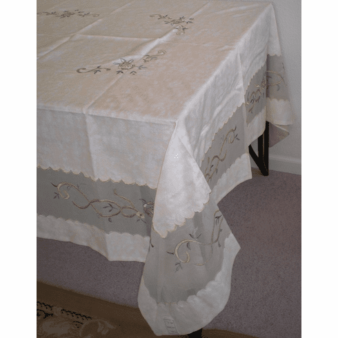 Bamboo nod material with sheer embroidery table cloth 72x108""