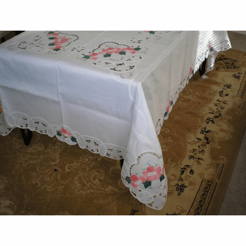 Batten lace with embroidery table clothes / covers  60x84 inch oblong