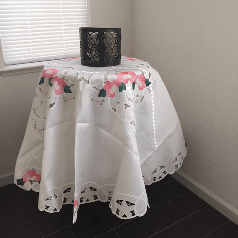 Batten lace with embroidery table clothes / covers  72 in Round