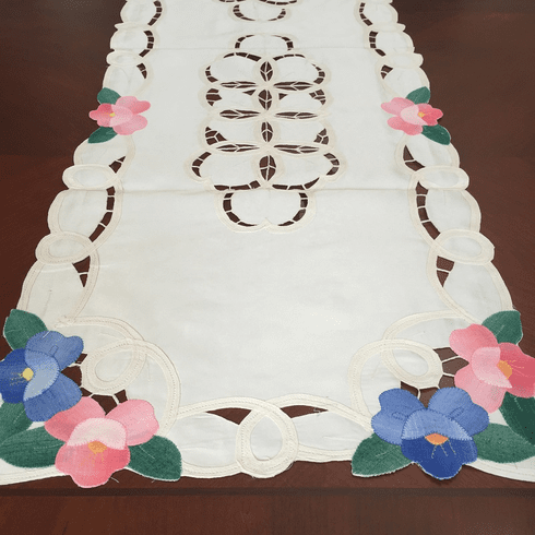 Batten lace with embroidery table runner  15x90 inch