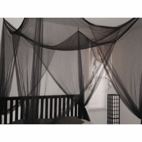 BLACK 4 POSTER BED CANOPY FUNCTIONAL MOSQUITO NET FOR FULL QUEEN KING BED