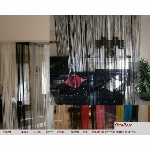 Black Fringe Fashion String Curtain with balls for windows, wall décor , door divider and party event 40x110 inches
