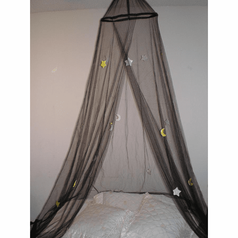 BLACK moon & star NEW BED CANOPY MOSQUITO NET CRIB TWIN