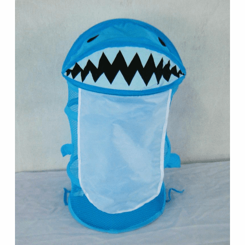 Blue Shark Little cute Kids room mesh organizer pop up hamper