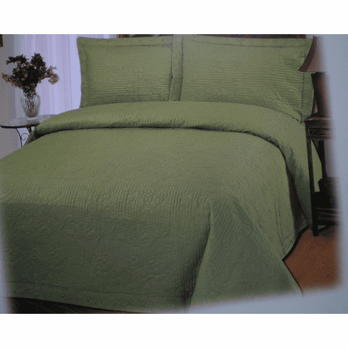 Brand New Pure Cotton 300TC 3pcs fully quilted embroidery bedspread set Queen / Sage Green Color