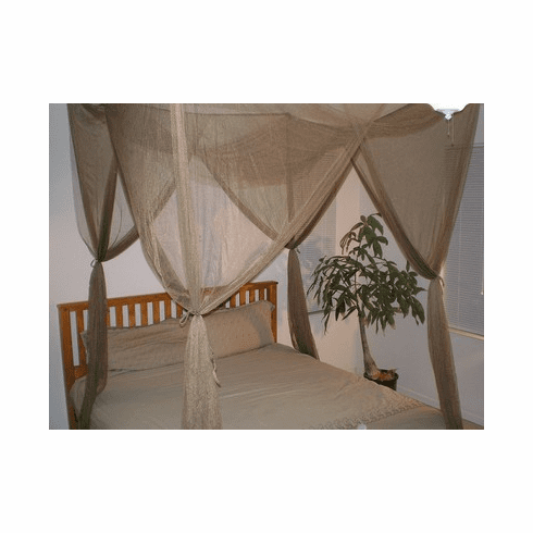 BROWN 4 POSTER BED CANOPY MOSQUITO NET FULL QUEEN KING