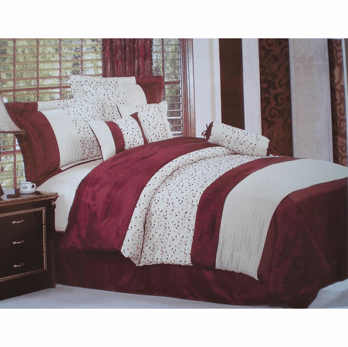 Burgundy and Beige with embroidery Strip Comforter set