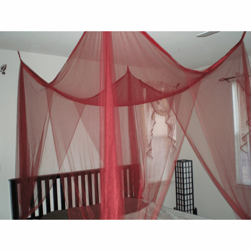 BURGUNDY MARRON 4  POSTER BED CANOPY MOSQUITO NET FULL QUEEN KING