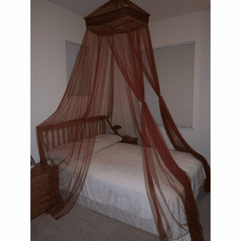 Burgundy Octorose ® Square Top Bed Canopy Mosquito Insect Net Fit All Size Bed From Crib, Twin, Queen, King and Cal King