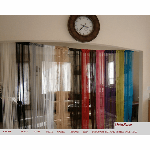 Burgundy String Curtain for windows, wall décor , door divider and party event 40x110 inches