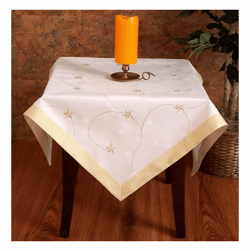"Christmas Gold star table cloth 64"" RD"