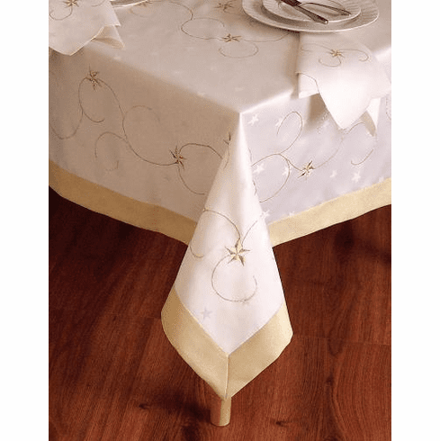 Christmas Gold Star table cloth 72x108""
