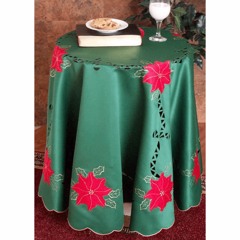 """Christmas Green red flower table cloth 72"""" round"""