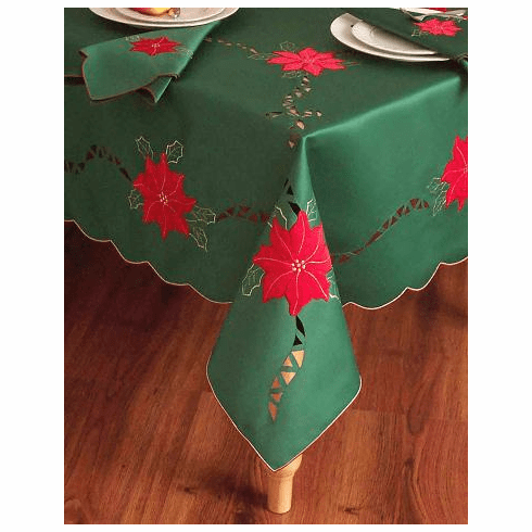 """Christmas Green red flower table cloth 72x108"""""""