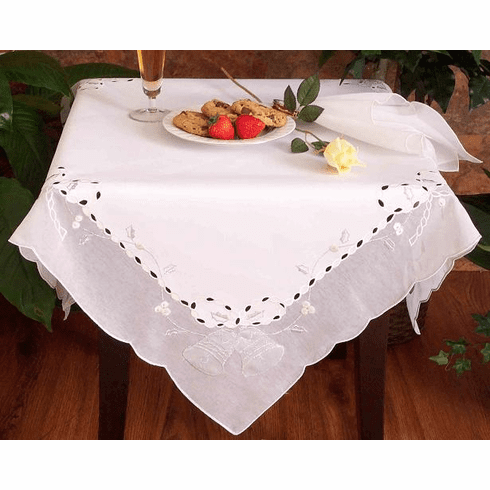 "Christmas white silver bell table cloth 36"" sq"