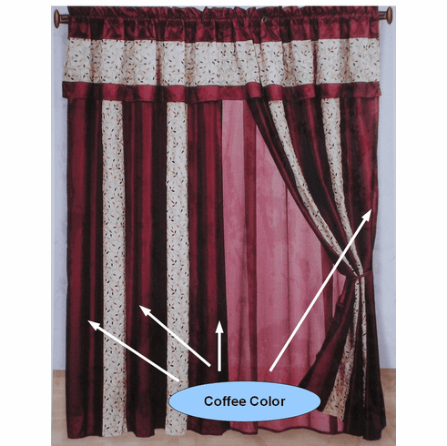 Coffee and Beige embroidery Strip Windows Curtains / Drapes