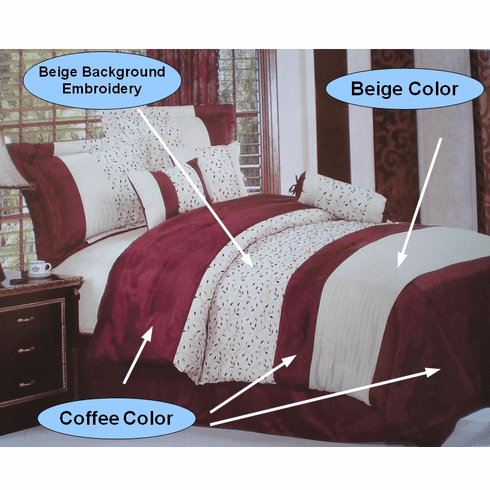 Coffee and Beige with embroidery Strip Comforter set
